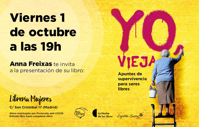 Anna Freixas presenta 'Yo, vieja' en la Librería Mujeres